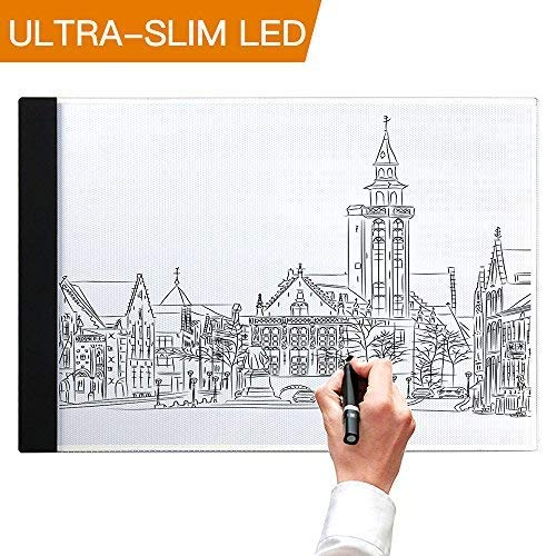 Light Box, SAMTIAN A4 Light Box LED Copy Board Drawing Light Pad with USB Charger Cable, Art Craft Drawing Tracing Tattoo Board for Artists, Drawing, Animation, Sketching, Designing (LB-A4 LITE). by SAMTIAN