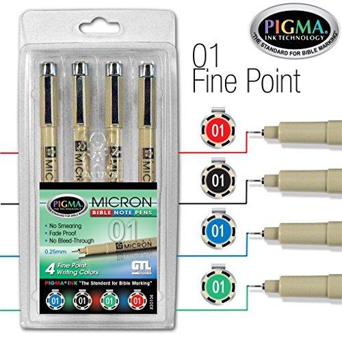 Pigma Micron 01 Fine Point Bible Note Pen Kit (Set of (Micron 01 Fine Point Pen)