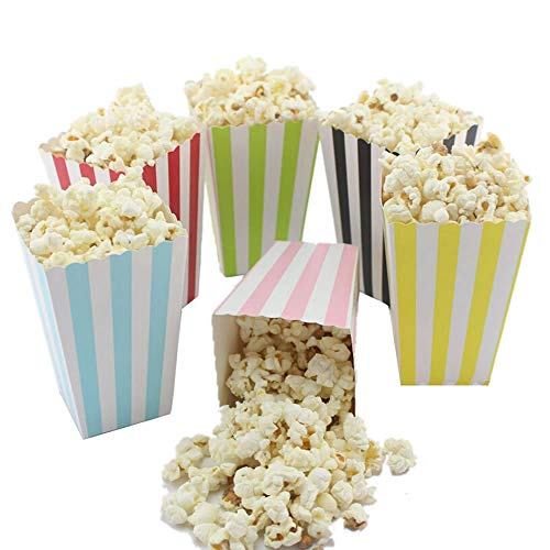 (WSERE 72 Pieces Paper Popcorn Box Containers Popcorn Bags for Party Movie Night Baby Shower Wedding Birthday Carnival Christmas Halloween, 6)