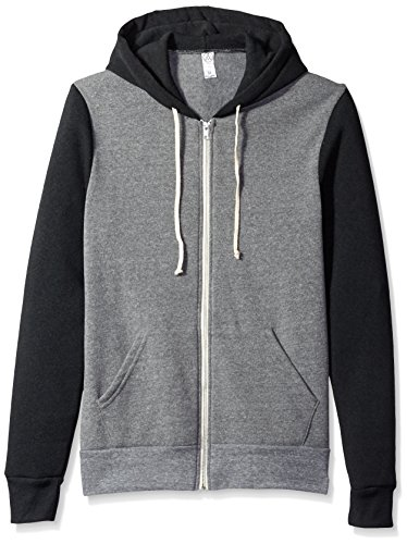 Alternative - Rocky Unisex Colorblocked Eco Fleece Hooded Full-Zip - 32023 - Eco Grey/ Eco True Black - Large