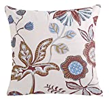 LivebyCare Velvet FlowersFilled Throw Pillow 18x18 Inch PP Cotton Insert Rayon Velvet Seat Chair Back Cushion Zipper for Decorative Car Home Sofa Lumbar Back Pillow