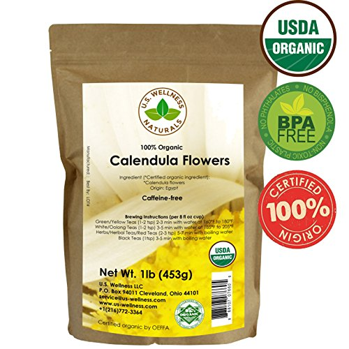 Calendula Tea 1LB (16Oz) 100% CERTIFIED Organic Whole Flower Calendula Herbal Tea (Calendula Officinalis), Caffeine Free in 1 lbs. Bulk Resealable Kraft BPA free Bags from U.S. Wellness Calendula Petals
