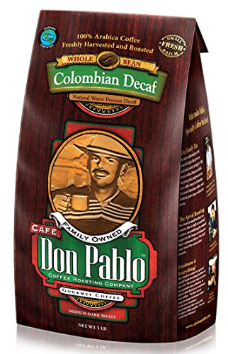 5LB Cafe Don Pablo Decaf Swiss Water Process Colombian Gourmet Coffee Decaffeinated - Medium-Dark Roast - Whole Bean Coffee - 5 Pound ( 5 lb ) Bag (Worlds Largest Cup)