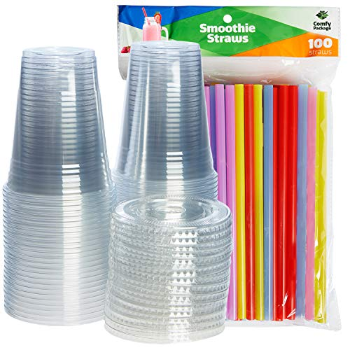 [100 Sets - 16 oz.] Plastic Cups With Flat Lids & Straws = 100 Clear Cups, 100 Flat Lids, 100 Smoothie Straws ()
