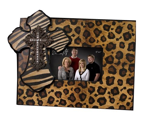 Faith Collection Picture Frame Leopard Zebra Print with Cross 6X4
