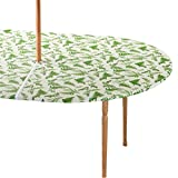 Miles Kimball Garden Greenery Zippered Elasticized Umbrella Table Cover - 42'' x 68'' Oval