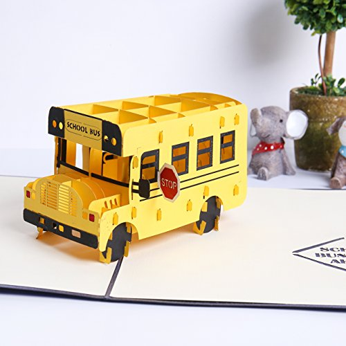 Liif School Bus Pop Up Card, 3D Bus Pop Up Card, Pop Up Card For All Occasions, Birthday, Kids, Congratulations, Back To School Gift (New School Buses)