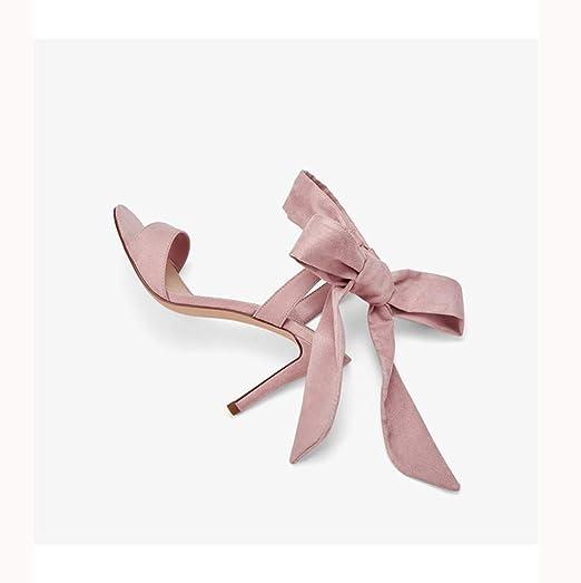 Lnyy Zapatos de Verano para Mujer, cinturón de Palabra, Ante, Lazo ...
