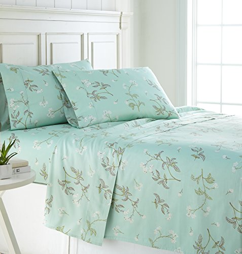 Southshore Fine Linens - BRITEYARN - Myosotis Scorpiodes Print - 300 Thread Count 100% Cotton, 3-Piece Extra Deep Pocket Sheet Set, Twin, Green