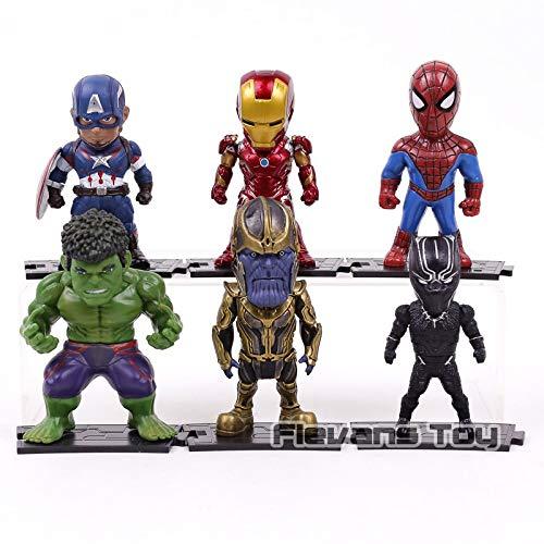 Infinity Series Accessories - SAATAN 6pcs/set avengers infinity war toys iron man spiderman captain america black panther hulk thanos pvc figures car deco dolls