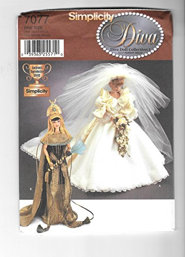 Simplicity 7077 - 11.5-inch Fashion Dolls Clothes - Diana's Wedding Dress, Cleopatra's Costumes (Diva Doll Collections I)