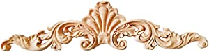 Beoot Wood Carved Corner Onlay Applique Door Cabinet Unpainted Home Furniture Decorations (40cm x 10cm)
