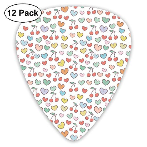 Cherry Doodle - Guitar Picks 12-Pack,Surreal Vivid Colored Cherries Doodle Style Hearts Fruit And Love Eating Valentine