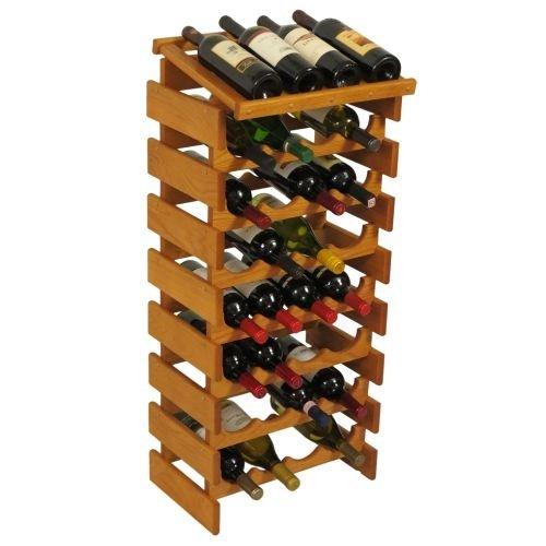 32-Bottles Wine Rack in Medium Oak Finish by Wooden Mallet