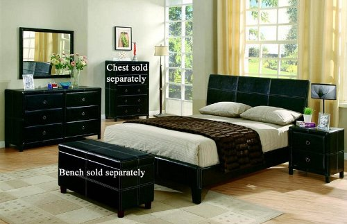 4pc Queen Size Bedroom Set in Black Bycast Like Vinyl