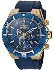 Invicta Men's 'Aviator' Quartz Stainless Steel and Silicone Casual Watch, Color:Blue (Model: 22525)