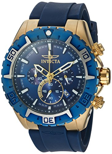 Invicta Men's Aviator Stainless Steel Quartz Watch with Silicone Strap, Blue, Black 26 (Model: 22523, 22525)