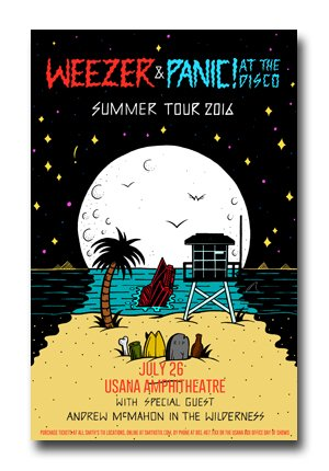 Panic at The Disco - Weezer Poster - 2016 Death Of a Bachelor Tour