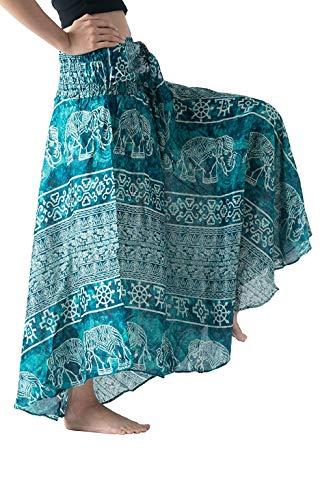 Quartly Women Loose Long Maxi Skirts Hippie Bohemian Gypsy Flowers Elastic Waist Floral Halter Skirt(Green,M)