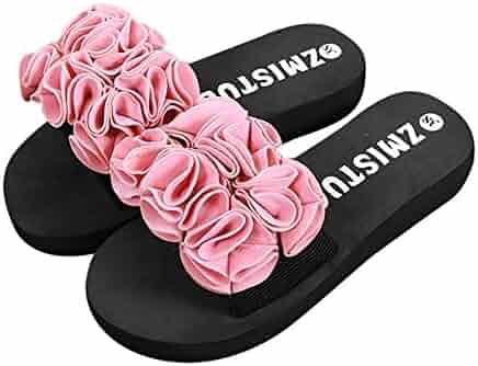 ae2a4af1466314 Respctful Women Summer Flower Summer Sandals Thick Bottom Flip-Flops Beach  Shoes