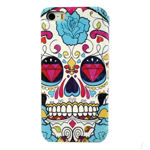 amtonseeshop Brand New Fashion Hot Selling Leather Hard Case for Iphone 5 5g Gift (Clorful Skull)