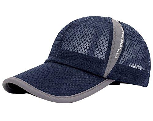 Mesh Outdoor Sporting Caps Soft Durable Sunhats Summer Beach Board Hats for Baseball Tennis Mountaining Climbing Navy Blue ()