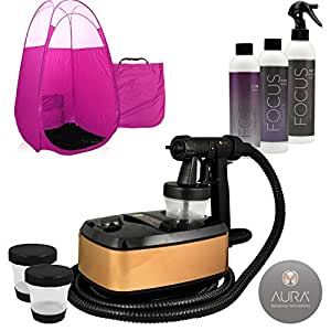 Aura Allure Spray Tan Machine Kit with Tanning Solution and Tent (Pink)