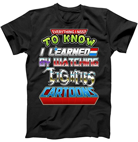Video Game Cartoon T-shirt - Everything I Need to Know I Learned by Watching Eighties Cartoons T-Shirt Black Medium