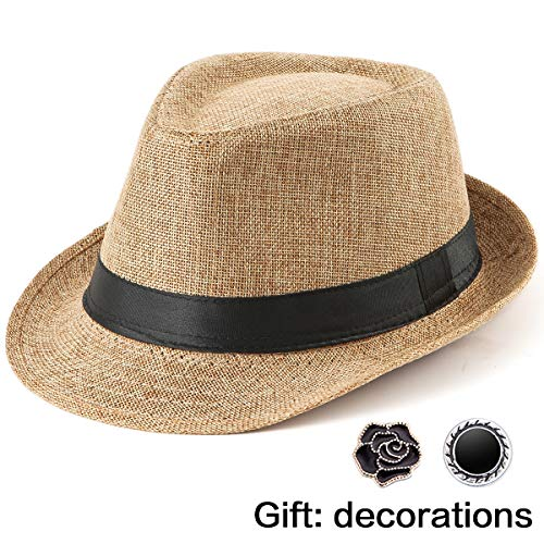 Men's Fedora Hat Straw Hats - Khaki Hats for Women Sun Hat for Beach Travel Cap ()