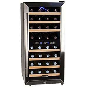 Koldfront 32 Bottle Free Standing Dual Zone Wine Cooler –  and Stainless Steel : My wine is chilled perfect and it looks great in my custom area