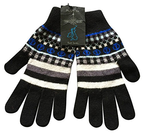 Paul Smith Bleu JACQUARD Gants - 100% Wool