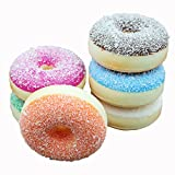 Transcend11 Pack of 6 Colorful Simulation Donuts Artificial Fake Cake Bread Desert Food Model Kids Toy Home Kitchen Party Decoration Store Market Display Photography Props, Color Random