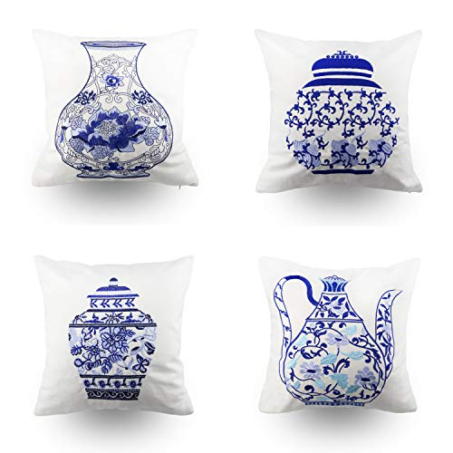 Hodeco Embroidery Throw Pillow Covers 18x18 Inches Decorative Floor Pillows Cover for Couch 100% Cotton Cushion Cover Throw Pillow Case, Chinese Blue and White Porcelain Bottles Design, Set of 4 ()