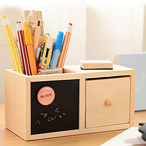 Pencil Pen Cup Storage Box Organizer Holder With Drawer Chalkboard Natural Wood - Metal Silver Desk Clock