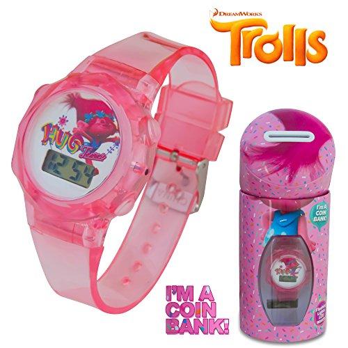 DreamWorks Trolls Kids Pink LCD Flashing Lights Wrist Watch in a Coin Bank