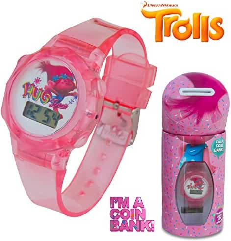 DreamWorks Trolls Kids Pink LCD Flashing Lights Wrist Watch in a Coin Bank