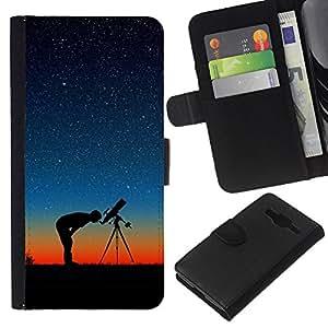 A-type (Estrellas En La Noche) Colorida Impresión Funda Cuero Monedero Caja Bolsa Cubierta Caja Piel Card Slots Para Samsung Galaxy Core Prime