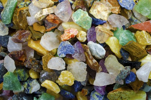 Hypnotic Gems Materials: 2 lbs Beautiful South American 12 Stone Rough Mix - Premium Grade Colorful Mix - Natural Raw Stones for Cabbing, Tumbling, Lapidary, Polishing, Reiki, Wicca & Crystal Healing - 2 Pounds Of A 12 Stone Mix