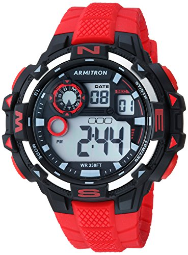 Armitron Sport Men's 40/8392RED Digital Chronograph Red Silicone Strap Watch