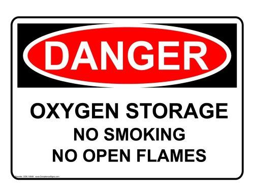 Danger Oxygen Storage No Smoking No Open Flames OSHA Safety Label Sticker Decal, 10x7 in. Vinyl for Gases Hazmat by ComplianceSigns