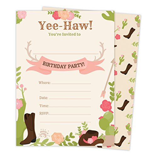 (Cowgirl Cow Girl Style 2 Happy Birthday Invitations Invite Cards (25 Count) With Envelopes and Seal Stickers Boys Girls Kids Party)