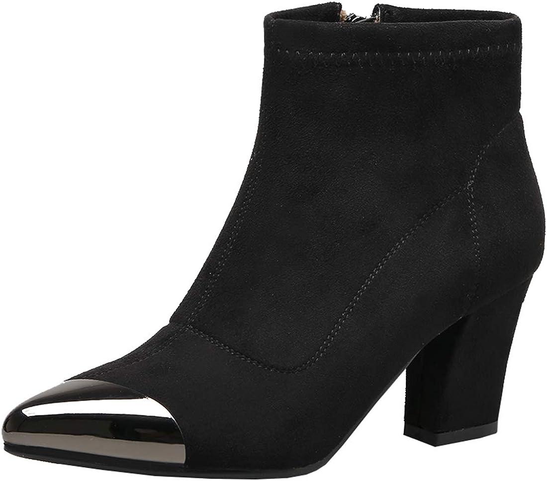 Artfaerie Womens Pointed Toe Booties Block High Heel Ankle Boots Chunky Heel Zip up Ladies Boots