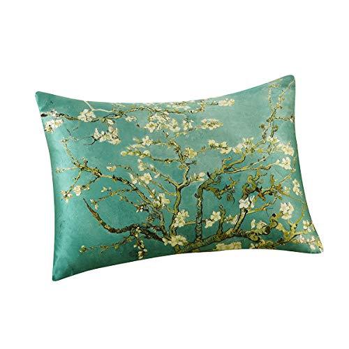 Alaska Bear Natural Silk Pillowcase Hypoallergenic 19 Momme 600 Thread Count 100 Mulberry Silk Standard Size With Hidden Zipper Custom Painting Pillow Case For Room Decor 1 Almond Blossom