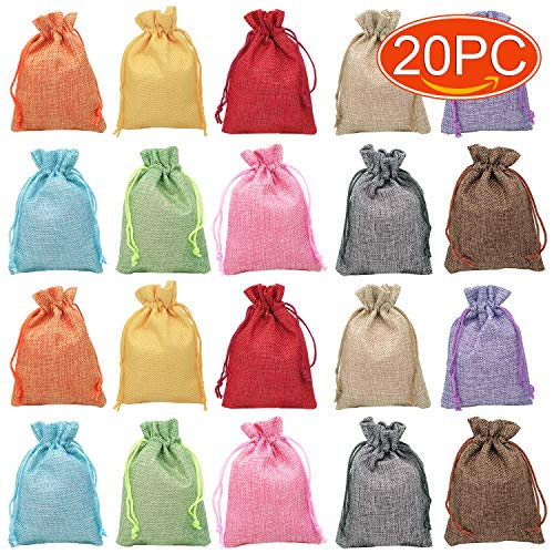 Elesa Miracle 20pcs Pure Color Retro Cotton Canvas Jewelry Pouch Bag, Drawstring Coin Purse, Gift Bag Value Set