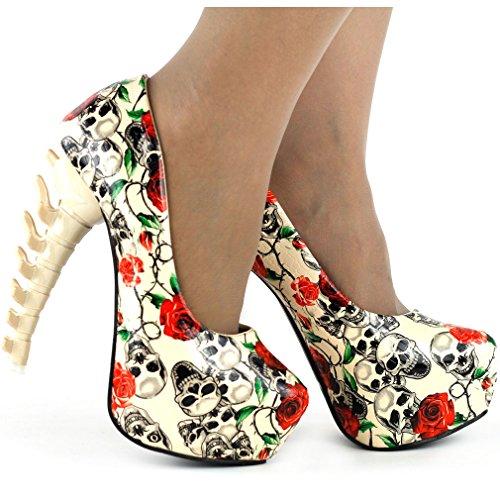 Skull Damen Print Bone Pumps Beige Club Plattform LF80610 Heel Party Show Rose Story 1E5xwnqA