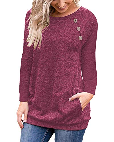Wine Red Women Casual Long Sleeve Button T-Shirt Tunic Top Solid Blouse Pocket (Angel Blouse)