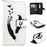 Moto G 3rd Gen Case, Easytop Book Style Flip Folio Wallet Case PU Leather Foldable Stand Feather Cover Case with Built-in Card Slots Cash Pocket Magnetic Tab for Motorola Moto G3 (Black Feather Birds)