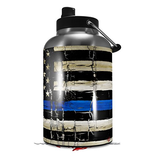 Ink Gallon Bottle - Skin Decal Wrap for 2017 RTIC One Gallon Jug Painted Faded Cracked Blue Line Stripe USA American Flag (Jug NOT INCLUDED) by WraptorSkinz