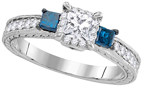 14k White Gold Womens 3-stone Blue Colored Diamond Wedding Bridal Engagement Ring 1.00 Cttw
