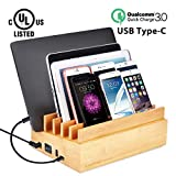 Avantree UL Certified 100W 10 Port Bamboo Charging Docking Station for Multiple Device, Quick Charge 3.0, Type C Wood Charger Organizer PowerPlant